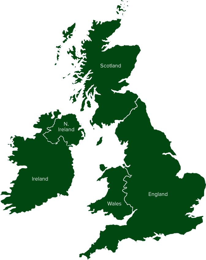 Ireland, England, Scotland